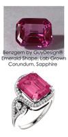 5.91 Ct. Benzgem by GuyDesign® Lab-Created Corundum, Hot Pink Emerald cut Sapphire, Mined Diamond and Gold Semi Mount Ring, 7087