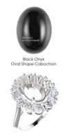 11 x 9 Mined Oval Cabochon 11 x 9 Ebony Black Onyx surrounded by 12 Benzgem by GuyDesign® Real Look Hearts & Arrows Imitation Diamond Jewels, 1.80 Ct. Tw., Diana Princess of Wales Ring, Supreme Sterling Silver, 7118