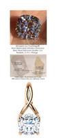 3.21 Ct. Hand Cut Antique Square Cushion Cut Benzgem: G-H-I-J Diamond Quality Color Imitation; GuyDesign® Pink Ribbon Design Pendant Necklace: Custom Rose Gold Jewelry - 7119