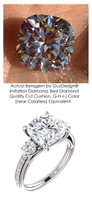 A Royal Engagement, G+ Color, VS Clarity Mined Round Diamond Semi-Mount three stone Wedding Ring - 3.21 Carat, Cushion G-H-I-J Color Benzgem by GuyDesign® Best Diamond Solitaire Imitation, Custom 7120
