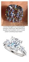 A Royal Engagement, G+ Color, VS Clarity Mined Round Diamond Semi-Mount three stone Wedding Ring - 3.21 Carat, Cushion G-H-I-J Color Benzgem by GuyDesign® Best Diamond Solitaire Imitation, Custom 7120
