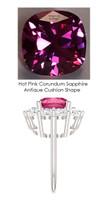 9 x 9 Benzgem by GuyDesign® Cushion Shape Lab-Created Corundum 9 x 9 Vivid Pink Sapphire and 01.80 Carats of Round Diamond Simulants, Diana Princess of Wales Ring, 14k White Gold, 6880