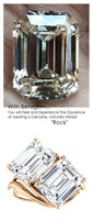 7.90 Ct. Ladies Two Stone Forever Rose Gold Ring, Benzgem by GuyDesign® Premium Diamond Cut Emerald Shape G-J Color Lab-Created Imitation Diamond 7055