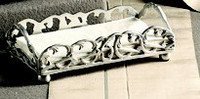 Brass Scroll Guest Towel Tray - Antique Silver Finish - Set of Two