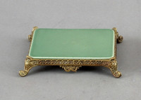 High End Scroll Platform - Luxury Hand Painted Porcelain and Gilt Bronze Ormolu - 6.25 Inch Celadon Rectangular Display Stand