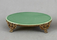 High End Napoleon's Empire Style Platform - Luxury Hand Painted Porcelain and Gilt Bronze Ormolu - 7.25 Inch Celadon Oval Display Stand
