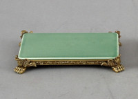 High End Empire Style Platform - Luxury Hand Painted Porcelain and Gilt Bronze Ormolu - 8 Inch Celadon Rectangular Display Stand