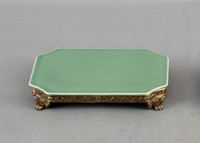 High End Empire Style Platform - Luxury Hand Painted Porcelain and Gilt Bronze Ormolu - 8 Inch Celadon Curved Corner Display Stand