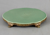 High End Empire Style Platform - Luxury Hand Painted Porcelain and Gilt Bronze Ormolu - 10.25 Inch Celadon Serpentine Oval Display Stand