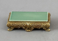 High End Bombe Platform - Luxury Hand Painted Porcelain and Gilt Bronze Ormolu - 6.75 Inch Celadon Rectangular Display Stand