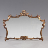"A Versailles Louis XIV French Baroque Period - 77"" Handcrafted Reproduction Wall, Buffet, Mantel, Console Mirror - Gold Luxurie Furniture Finish NF11, 6374"