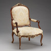 The Queen of Versailles Marie Leszezynska - Louis XV French Rococo Period - 40 Inch Handcrafted Reproduction Salon Arm Chair | Fauteuil - Damask Upholstery - Wood Tone and Gilt Luxurie Furniture Finish