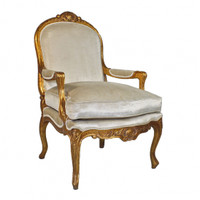 The Queen of Versailles Marie Leszezynska - Louis XV French Rococo Period - 40 Inch Handcrafted Reproduction Salon Arm Chair | Fauteuil - Velvet Upholstery - Metallic Gold Luxurie Furniture Finish 6370 - Reproduction Salon Fauteuil