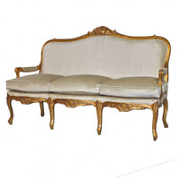 The Queen of Versailles Marie Leszezynska - Louis XV French Rococo Period - 71 Inch Handcrafted Reproduction Sofa | Canape - Velvet Upholstery - Metallic Gold Luxurie Furniture Finish 6369 - Reproduction Salon Canape