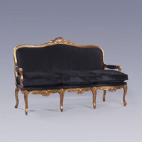 The Queen of Versailles Marie Leszezynska - Louis XV French Rococo Period - 71 Inch Handcrafted Reproduction Sofa | Canape - Velvet Upholstery - Metallic Gold Luxurie Furniture Finish