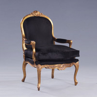 The Queen of Versailles Marie Leszezynska - Louis XV French Rococo Period - 40 Inch Handcrafted Reproduction Salon Arm Chair | Fauteuil - Velvet Upholstery - Metallic Gold Luxurie Furniture Finish
