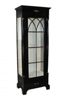 French Empire Style - 74 Inch Reproduction Display Cabinet | Curio - Painted Ebony Black Luxurie Furniture Finish