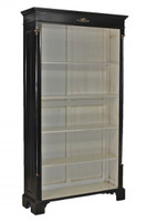 French Empire Style - 73 Inch Reproduction Bookcase - Painted Ebony Black Luxurie Furniture Finish