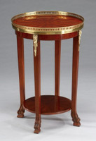 French Style - 20 Inch Round Reproduction Side | Lamp Table - Rich Wood Luxurie Furniture Finish with Gilt Brass Ormolu Mounts