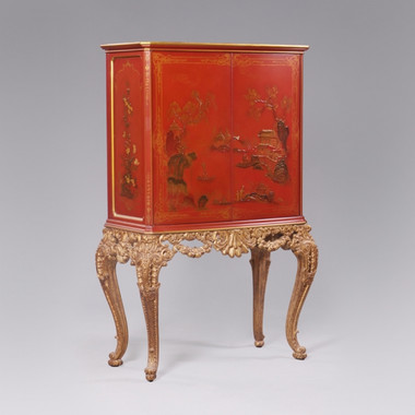 A Chinoiserie Chinese Style Carved - 67 Inch Handcrafted Reproduction Bar Cabinet - Chinese Red and Gilt Luxurie Furniture Finish 6325 - Reproduction Carved Bar