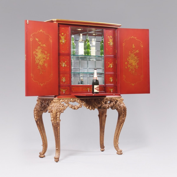 ***A Chinoiserie Chinese Style Carved   67 Inch Handcrafted Reproduction  Bar Cabinet   Chinese Red And Gilt Luxurie Furniture Finish