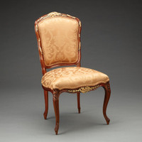 A Versailles Louis XV French Rococo Period - 37 Inch Handcrafted Reproduction Dining Side | Accent | Desk Chair - Gold Damask Upholstery - Wood Stain and Gilt Luxurie Furniture Finish