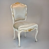 A Versailles Louis XV French Rococo Period - 37 Inch Handcrafted Reproduction Dining Side | Accent | Desk Chair - Velvet Upholstery - Paint and Gilt Luxurie Furniture Finish