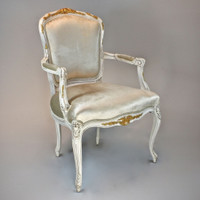 A Versailles Louis XV French Rococo Period - 38 Inch Handcrafted Reproduction Dining   Accent Arm Chair   Fauteuil - Velvet Upholstery - Paint and Gilt Luxurie Furniture Finish