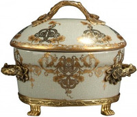 Luxe Life Celadon Flourish Finely Finished Porcelain and Gilt Bronze Ormolu - Oval 9 Inch Decorative Covered Box