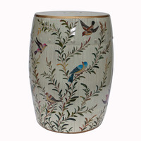 An Artisan Essence, Handmade, Handpainted Whispy Branches and Birds Garden Seat, Stool, Accent Table