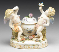 Meissen Style Table Top - 6 Inch Porcelain Desktop Ink Well
