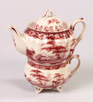 Red and White Pattern - Luxury Reproduction Transferware Porcelain - Tea for One Set 1211 AAA