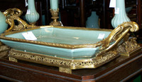 Lyvrich - Luxury Hand Painted Reproduction Porcelain and Gilt Bronze Ormolu - 18 Inch Statement, Centerpiece Tray - Solid Celadon