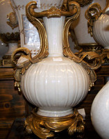 Lyvrich - Luxury Hand Painted Reproduction Porcelain and Gilt Bronze Ormolu - 12 Inch Statement Mantle Vase - Crackle White
