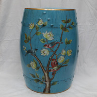 An Artisan Essence, Handmade, Handpainted Tree Branches with Flowers and Birds Garden Seat, Stool, Accent Table
