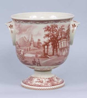Red and White Pattern - Luxury Reproduction Transferware Porcelain - 10.5 Inch Planter