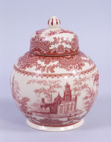 Red and White Pattern - Luxury Reproduction Transferware Porcelain - 8 Inch Tea Jar