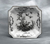 Black and White Pattern - Luxury Reproduction Transferware Porcelain - 7.5 Inch Square Dinner Plate - Set of Six