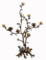 Birds of Spring - Luxury Hand Painted Porcelain and Gilt Bronze Ormolu Tree - 19 Inch Taper Candle Holder