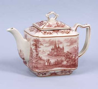 Red and White Pattern - Luxury Reproduction Transferware Porcelain - 10 Inch Teapot
