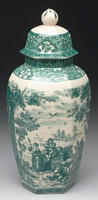 Green and White Pattern - Luxury Reproduction Transferware Porcelain - 13.5 Inch Jar