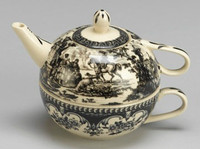 Black and White Pattern - Luxury Reproduction Transferware Porcelain - Tea For One 1183 AAA