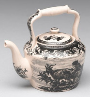 Black and White Pattern - Luxury Reproduction Transferware Porcelain - 4.75 Inch Teapot