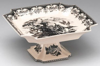 Black and White Pattern - Luxury Reproduction Transferware Porcelain - 8 Inch Square Pedestal Bowl | Compotier