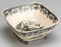 Black and White Pattern - Luxury Reproduction Transferware Porcelain - 8.5 Inch Square Bowl