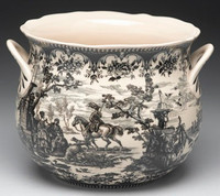 Black and White Pattern - Luxury Reproduction Transferware Porcelain - 9.5 Inch Planter