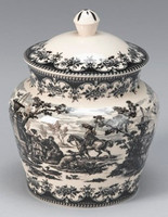 Black and White Pattern - Luxury Reproduction Transferware Porcelain - 7.5 Inch Canister, Jar