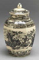 Black and White Pattern - Luxury Reproduction Transferware Porcelain - 12.75 Inch Jar
