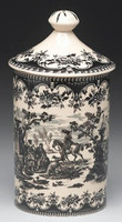 Black and White Pattern - Luxury Reproduction Transferware Porcelain - 9.5 Inch Canister, Jar