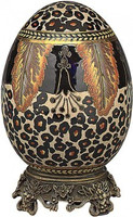 Luxe Life Jungle Pattern, Leopard Print - Luxury Hand Painted Porcelain and Gilt Bronze Ormolu - 8 Inch Decorative Egg